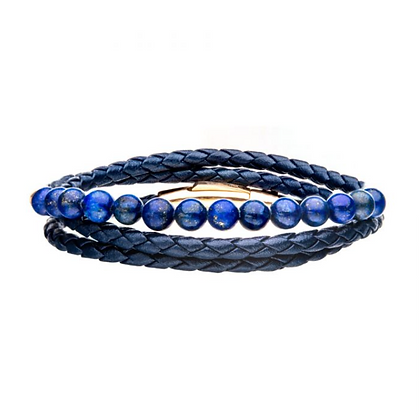 Double Wrap Blue Leather w/ Lapis Beads Bracelet