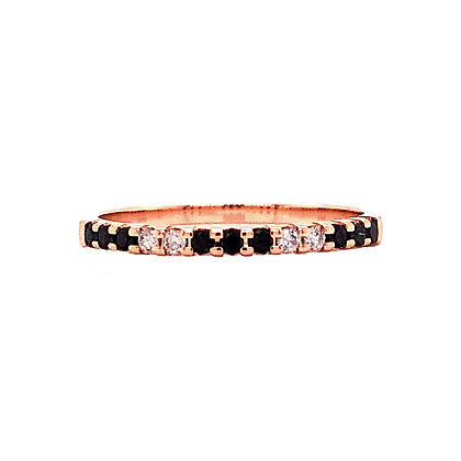 14KR White & Treated Black Diamond Stackable Ring