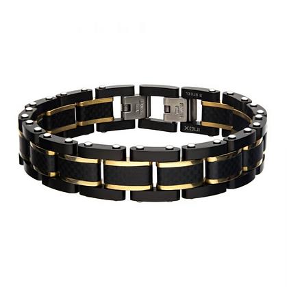 Black Carbon Fiber w/ Gold Plated Link Bracelet