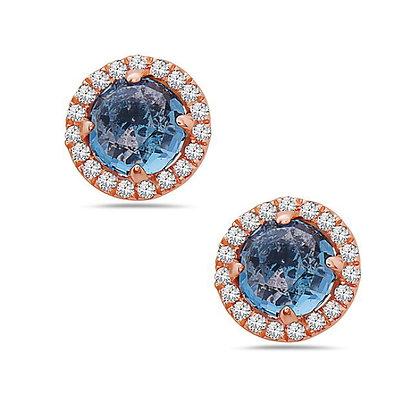 14KR London Blue Topaz & Diamond Studs