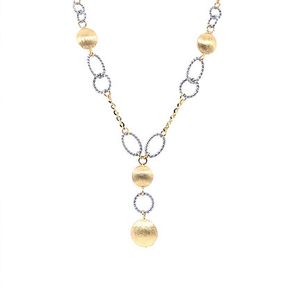14K Yellow & White Satin Bead & Braided Oval Link Necklace