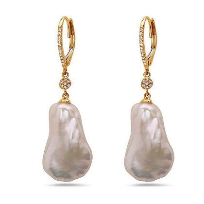 Bassali 14K Pearl & Diamond Drop Earrings