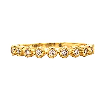 14KY Bezel-Set Diamond Stackable Ring
