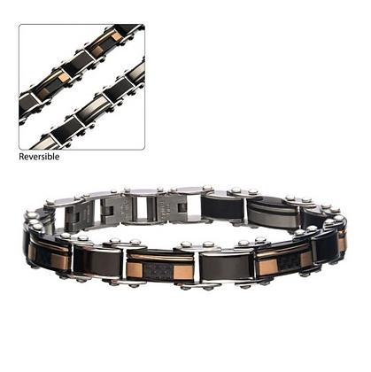 Stainless Steel, Black IP & Rose Gold IP Reversible Bracelet