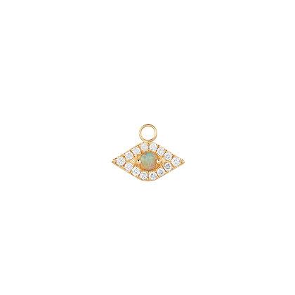 14KY HELENE | Diamond & Opal Evil Eye Earring Charm