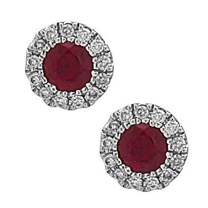 Bassali 14KW Ruby & Diamond Stud Earrings