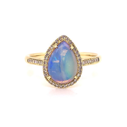 Bassali 14KY Pear Shaped Opal & Diamond Ring