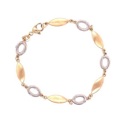 14KYW Satin & Open Link Bracelet