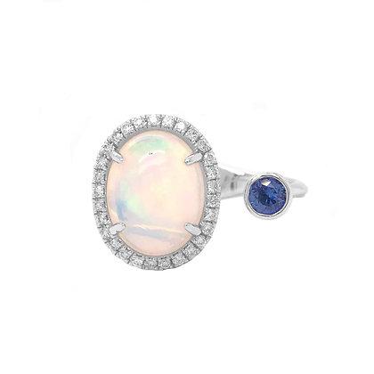 18KW Opal, Sapphire, & Diamond Open Ring