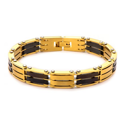 Steel Gold Plated and Black Plated H Link Bracelet