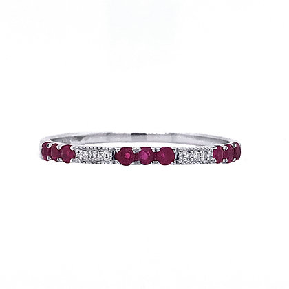 14KW Gold Diamond and Ruby Stackable Ring