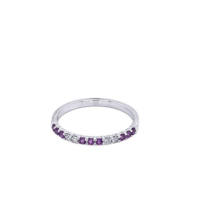 14KW Amethyst & Diamond Stackable Ring