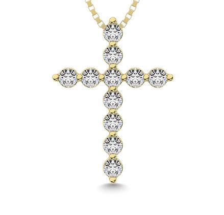 14KY Small Cross Diamond Pendant