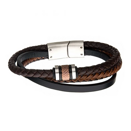 Black Plated & Rose Gold w/ Brown Leather Layered Bracelet