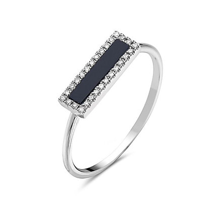 Bassali 14KW Onyx & Diamond Ring