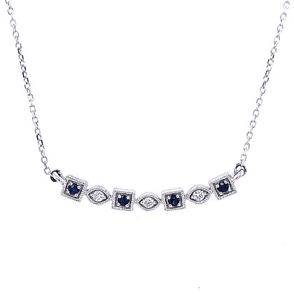 10KW Sapphire & Diamond Alternating Round & Square Necklace