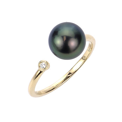 14KY Green Tahitian & Diamond Ring