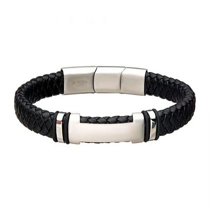 Black Leather w/ Steel ID Bracelet