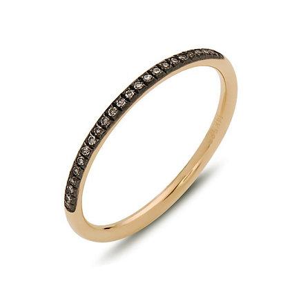 Bassali 14KR & Black Rhodium Diamond Stackable Ring
