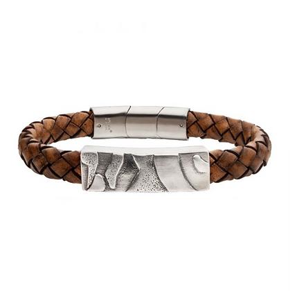 Brown Leather w/ Steel 3D Canyon Pattern Bracelet