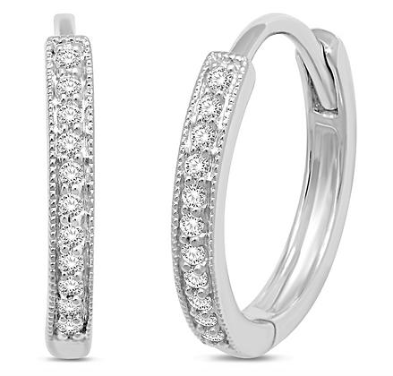 14KW Channel-Set Diamond (0.10ctw) Mini Hoop Earrings