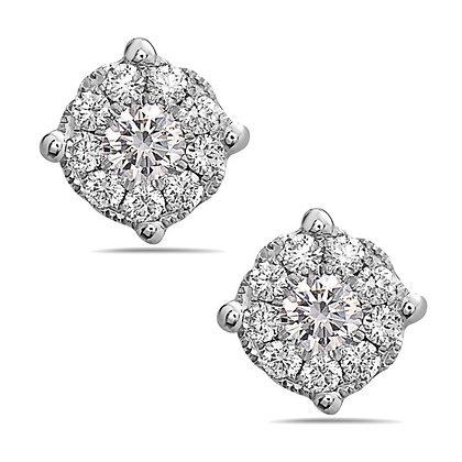 18KW Illusion-Style Diamond Studs
