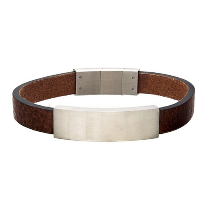 Brown Leather with Stainless Steel Bracelet