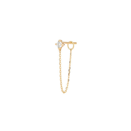 14KY AVA | White Sapphire Chain Single Drop Earring