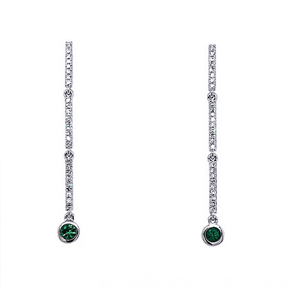 14KW Emerald Earrings Set w/ Diamonds