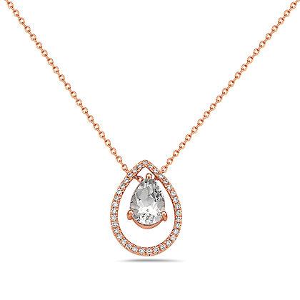14KR Aqua & Diamond Drop Necklace