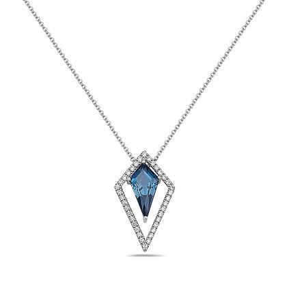 14KW London Blue Topaz & Diamond Geometric Necklace