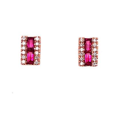 14KR Ruby Earrings Set w/ Diamonds