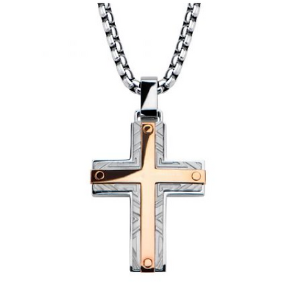 Rose Gold Plated Bar Accent w/ Gray Steel Labyrintine Cross
