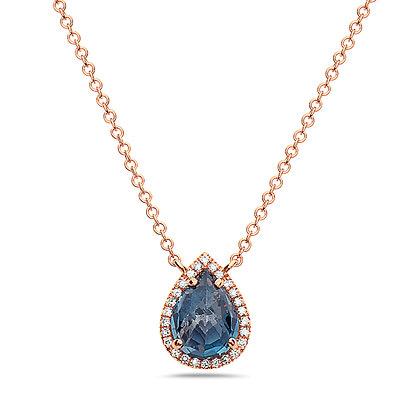 14K Gemstone & Diamond Drop Necklace