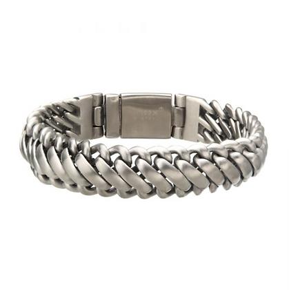 Matte Stainless Steel Double Chain Bracelet