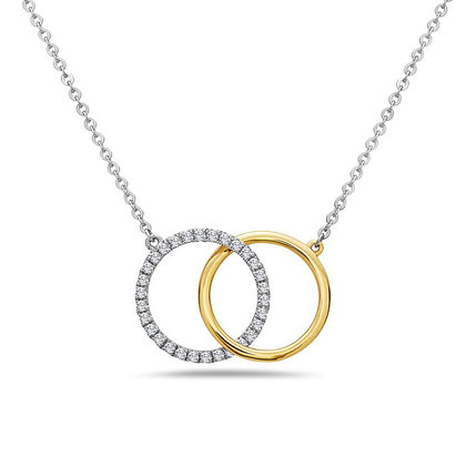 Bassali 14KW&Y Interlocking Circles Diamond Necklace