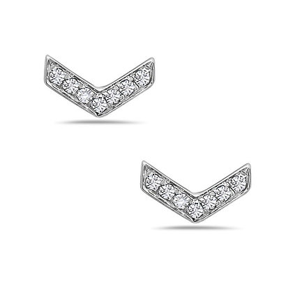 Bassali 14KW Diamond Chevron Studs