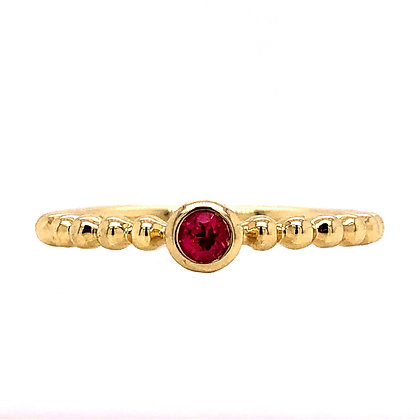 14KY Bezel-Set Ruby Stackable Ring