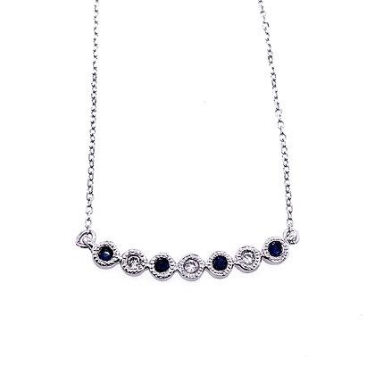 10KW Bezel-Set Sapphire & Diamond Necklace