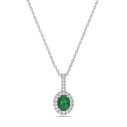 14KW Emerald & Diamond Drop Necklace