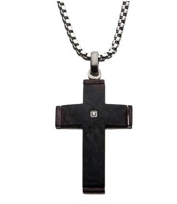 Stainless Steel w/ Diamond Cross Pendant