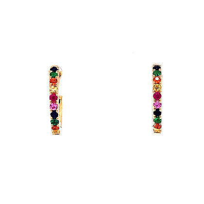 14KY Rainbow Sapphire Mini Hoops