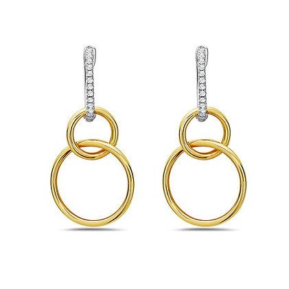 Bassali 14KW&Y Interlocking Diamond Circles Dangling Hoops