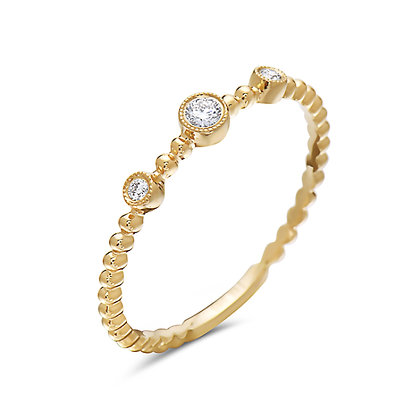 14K 3 Stone Stackable Ring