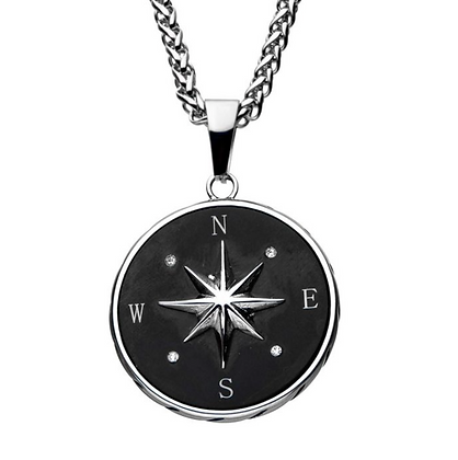 Stainless Steel & Black Plated Compass Pendant