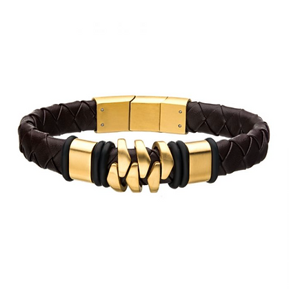 Steel & Gold Plated Brown Leather Bohemian Bracelet