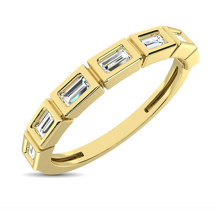 14KY Bezel-Set Baguette Stackable Ring