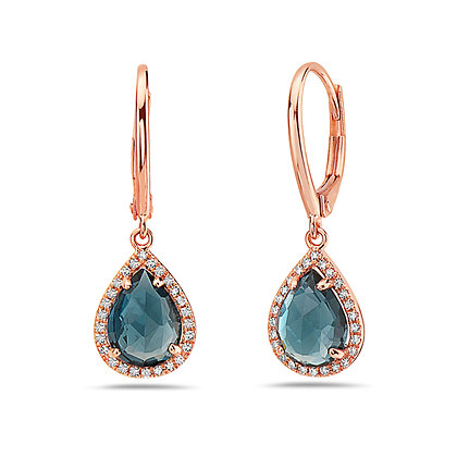 14K Gemstone & Diamond Drop Earrings
