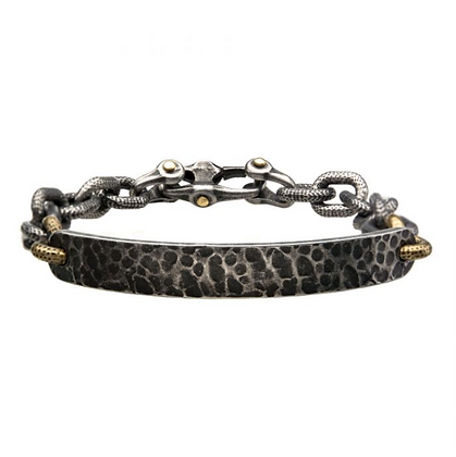 Antiqued Gun Metal Distressed Mariner Curb Chain Link ID Bracelet