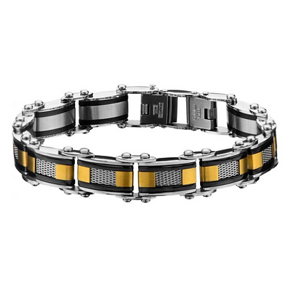 Double Sided Black Plated w/Gold Plated & Steel Mesh Reversible Bracelet